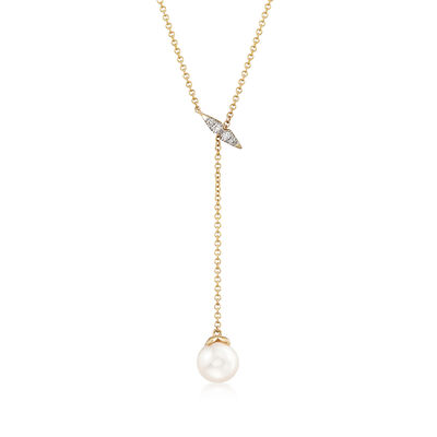 Gabriel Designs 7-7.5mm Cultured Pearl Necklace in 14kt Yellow Gold with Diamond Accents, , default