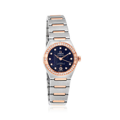 Omega Constellation Women's 29mm Automatic Stainless Steel and 18kt Rose Gold Watch with Diamonds and Blue Dial