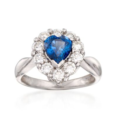 C. 2000 Vintage 1.41 Carat Sapphire and .90 ct. t.w. Diamond Heart Ring in Platinum, , default