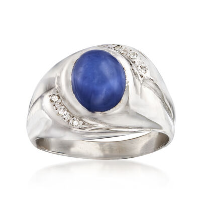 C. 1970 Vintage Men's 3.40 Carat Synthetic Sapphire Ring with Diamond Accents in 14kt White Gold