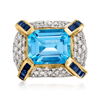 C. 1970 Vintage 6.75 Carat Blue Topaz, 2.25 ct. t.w. Diamond and .80 ct. t.w. Sapphire Cocktail Ring in 14kt Yellow Gold
