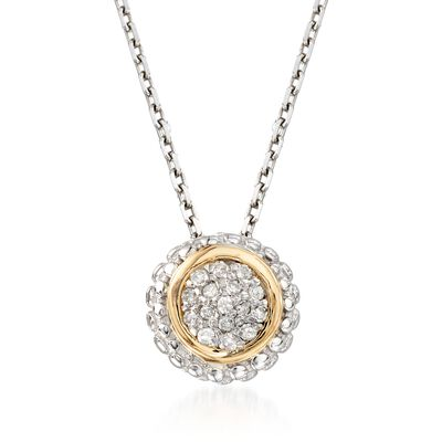"Phillip Gavriel ""Popcorn"" Diamond-Accented Pendant Necklace in Sterling Silver and 18kt Gold, , default"