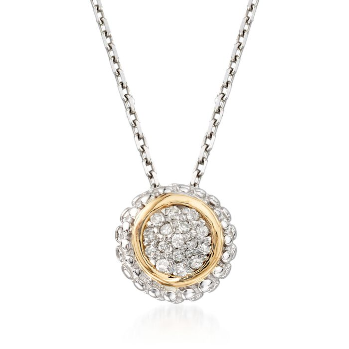 "Phillip Gavriel ""Popcorn"" Diamond-Accented Pendant Necklace in Sterling Silver and 18kt Gold"