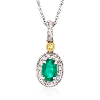 "Simon G. .45 Carat Emerald and .14 Carat Total Weight Diamond Necklace in 18-Karat Two-Tone Gold. 18"", , default"