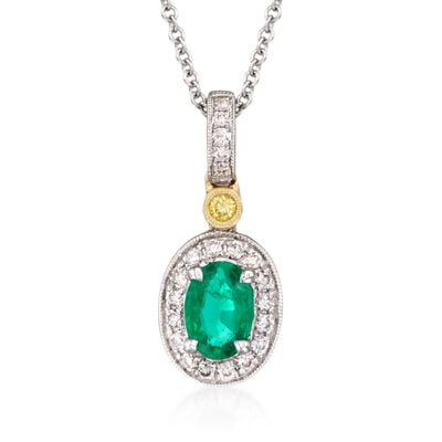Simon G. .45 Carat Emerald and .14 ct. t.w. Yellow and White Diamond Pendant Necklace in 18kt Yellow and White Gold, , default