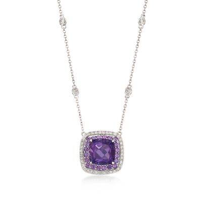 Gregg Ruth 3.20 ct. t.w. Amethyst and .27 ct. t.w. Diamond Necklace in 18kt White Gold, , default