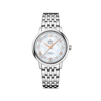 Omega De Ville Prestige 32.7mm Women's Automatic Stainless Steel Watch - Mother-Of-Pearl Dial, , default