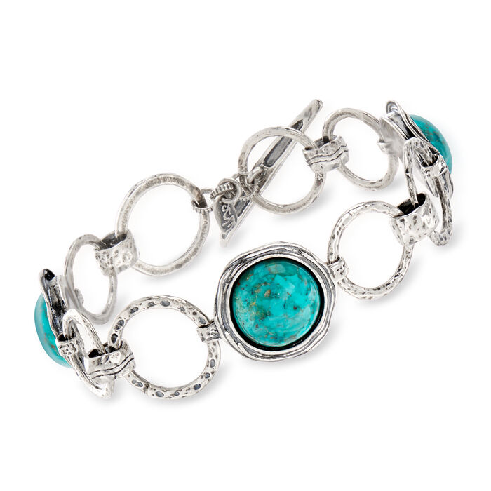 Green Turquoise Circle-Link Bracelet in Sterling Silver