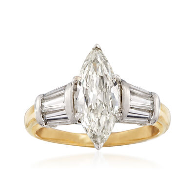 C. 1980 Vintage 2.29 ct. t.w. Diamond Ring in Platinum and 14kt Yellow Gold, , default