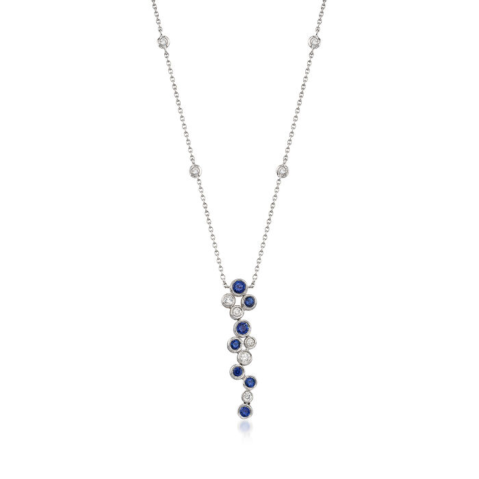 "Gregg Ruth .49 ct. t.w. Sapphire and .22 ct. t.w. Diamond Bubble Bezel-Set Necklace in 18kt White Gold. 16"", , default"