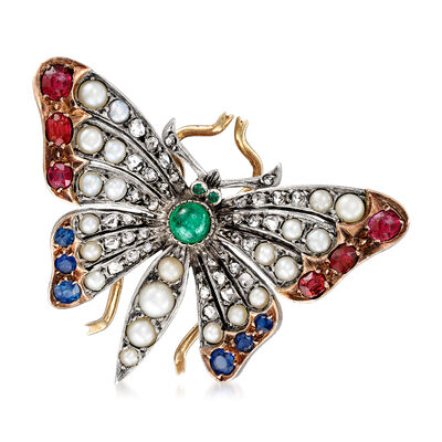 C. 1930 Vintage Cultured Pearl, 1.47 ct. t.w. Multi-Gemstone and .65 ct. t.w. Diamond Butterfly Pin in Sterling Silver with 14kt Yellow Gold