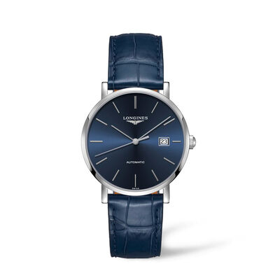 Longines Elegant Men's 39mm Automatic Stainless Steel Watch with Blue Leather