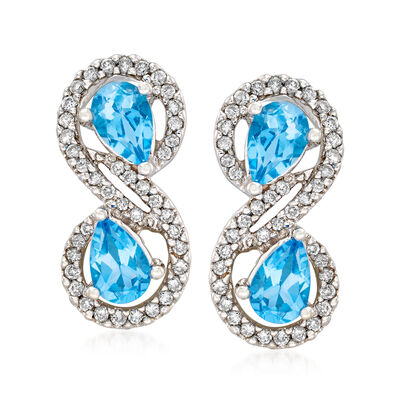 C. 1990 Vintage 1.80 ct. t.w. Sky Blue Topaz and .60 ct. t.w. Diamond Drop Earrings in 18kt White Gold