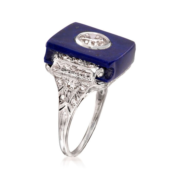 C. 2000 Vintage Lapis and 1.00 ct. t.w. Diamond Ring in 14kt White Gold