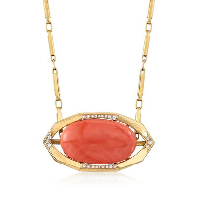 C. 1960 Vintage Oval Pink Coral Cabochon and .40 ct. t.w. Diamond Pin Pendant Necklace in 18kt Yellow Gold, , default