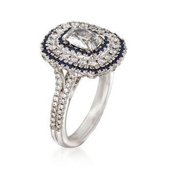 Henri Daussi 1.33 ct. t.w. Diamond and .34 ct. t.w. Sapphire Engagement Ring in 18kt White Gold