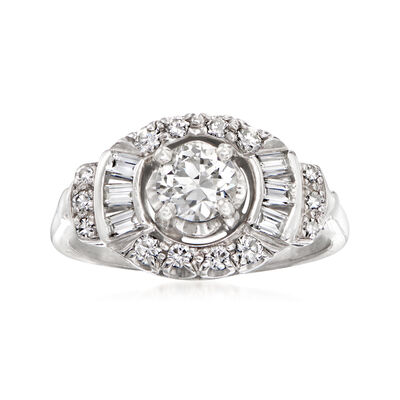 C. 1950 Vintage 1.20 ct. t.w. Diamond Ring in 14kt White Gold