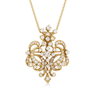 C. 1970 Vintage 2.60 ct. t.w. Diamond Fancy Pin/Pendant Necklace in 14kt Yellow Gold