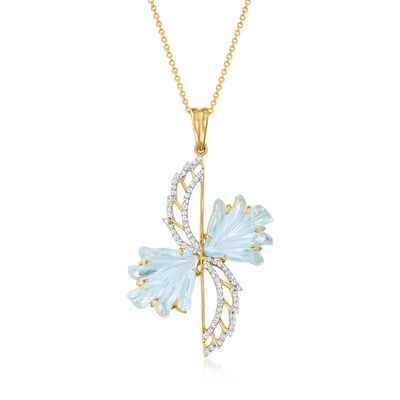 C. 1990 Vintage 12.60 ct. t.w. Sky Blue Topaz and .35 ct. t.w. Diamond Wing Pendant Necklace in 14kt Yellow Gold