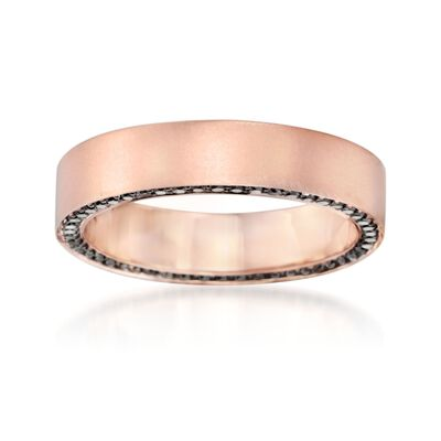 Henri Daussi Men's 5mm 14kt Rose Gold Wedding Ring with .80 ct. t.w. Black Diamonds