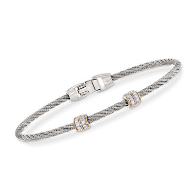 "ALOR ""Classique"" .13 ct. t.w. Diamond Gray Stainless Steel Cable Bracelet with 18kt Yellow and White Gold"