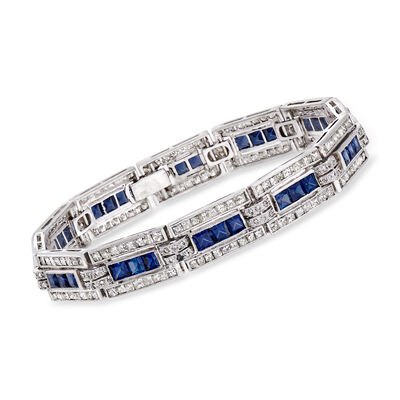 C. 1980 Vintage 7.00 ct. t.w. Sapphire and 5.85 ct. t.w. Diamond Link Bracelet in 18kt White Gold