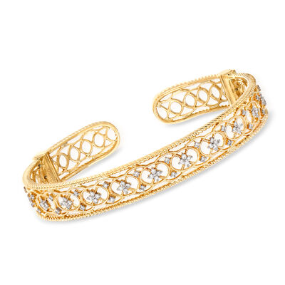 Gabriel Designs .52 ct. t.w. Diamond Openwork Filigree Cuff Bracelet in 14kt Yellow Gold