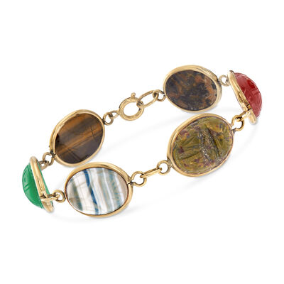 C. 1960 Vintage Multi-Gemstone Scarab Bracelet in 14kt Yellow Gold, , default