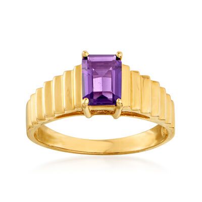 C. 1980 Vintage .75 Carat Amethyst Ring in 14kt Yellow Gold