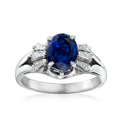 C. 1980 Vintage 1.72 Carat Sapphire and .44 ct. t.w. Diamond Ring in Platinum, , default