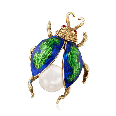 C. 1980 Vintage 9mm Cultured Pearl and Enamel Bug Pin in 14kt Yellow Gold, , default