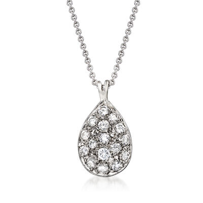 C. 1990 Vintage .75 ct. t.w. Diamond Pendant Necklace in 14kt White Gold