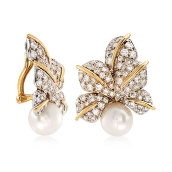 C. 1980 Vintage 10mm Cultured Pearl and 3.00 ct. t.w. Diamond Floral Earrings in 18kt Two-Tone Gold