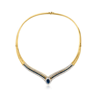 C. 1980 Vintage 5.05 ct. t.w. Sapphire Necklace with 1.75 ct. t.w. Diamonds in 18kt Yellow Gold