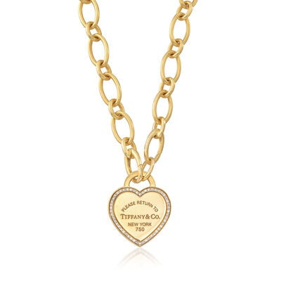C. 1990 Vintage Tiffany Jewelry .25 ct. t.w. Diamond and 18kt Yellow Gold Heart Tag Necklace, , default