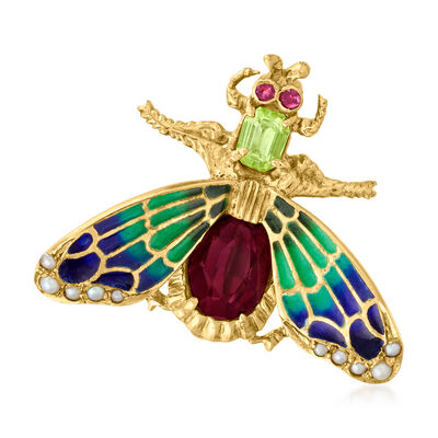 C. 1970 Vintage 1.68 ct. t.w. Multi-Gemstone Bug Pin with Multicolored Enamel in 14kt Yellow Gold