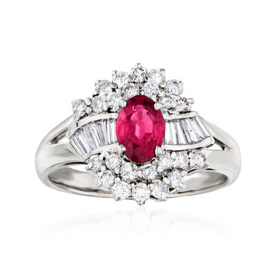 C. 1990 Vintage .78 Carat Ruby and .66 ct. t.w. Diamond Ring in Platinum