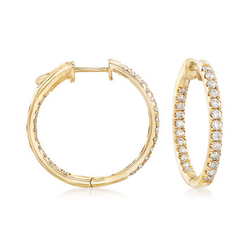 "1.00 ct. t.w. Inside-Outside Diamond Hoop Earrings in 14kt Yellow Gold. 7/8"", , default"