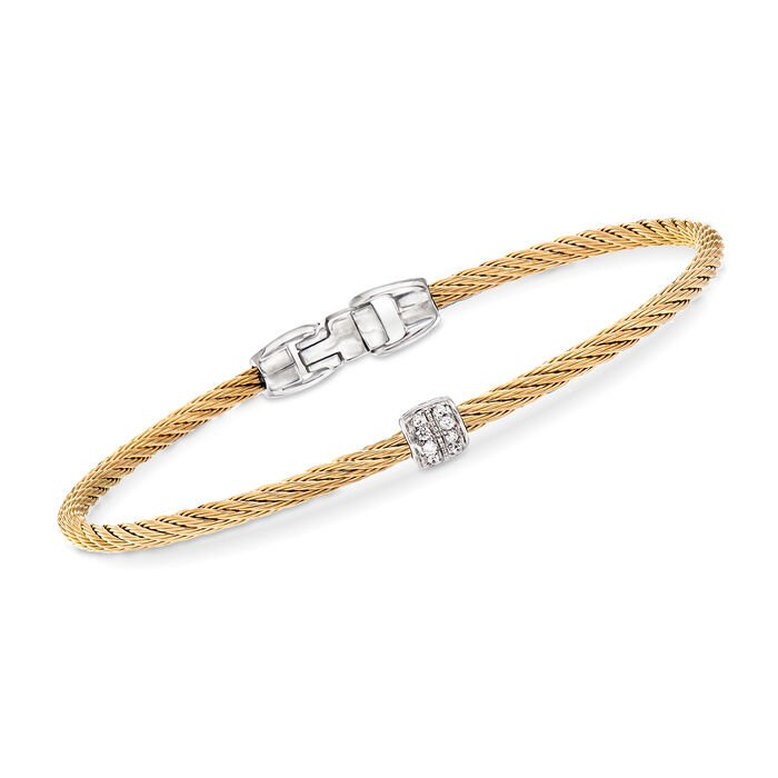 "ALOR ""Classique"" Yellow Stainless Steel Cable Bracelet with Diamond Accents. 7"", , default"