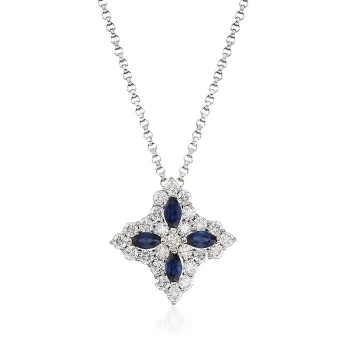 "Roberto Coin ""Princess Flower"" .50 ct. t.w. Diamond and .32 ct. t.w. Sapphire Medium Flower Pendant Necklace in 18kt White Gold. 16.5"", , default"