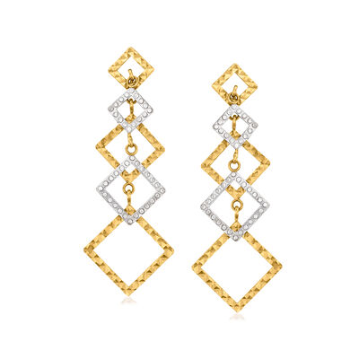 C. 1990 Vintage 14kt Two-Tone Gold Multi-Square Drop Earrings