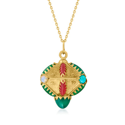 C. 1980 Vintage Multi-Gemstone Abstract Pendant Necklace in 18kt Yellow Gold