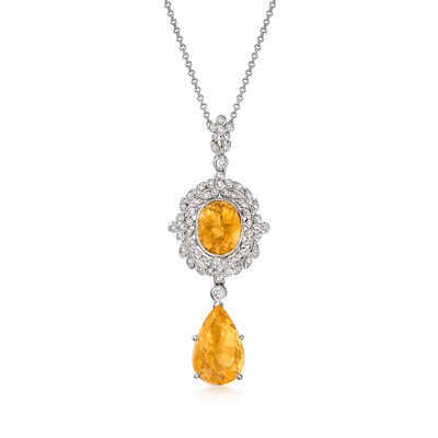 C. 2000 Vintage 9.15 ct. t.w. Citrine and .48 ct. t.w. Diamond Pendant Necklace in 18kt White Gold