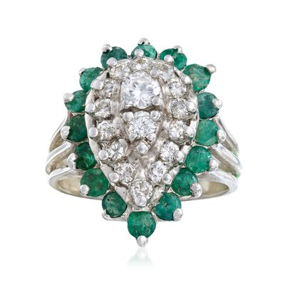 C. 1980 Vintage .65 ct. t.w. Diamond and .95 ct. t.w. Emerald Ring in 18kt White Gold, , default