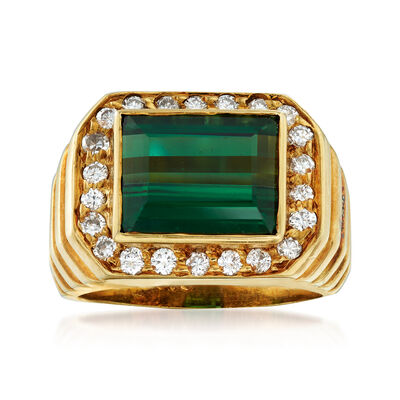 C. 1970 Vintage 3.25 Carat Green Tourmaline and .50 ct. t.w. Diamond Ring in 18kt Yellow Gold, , default