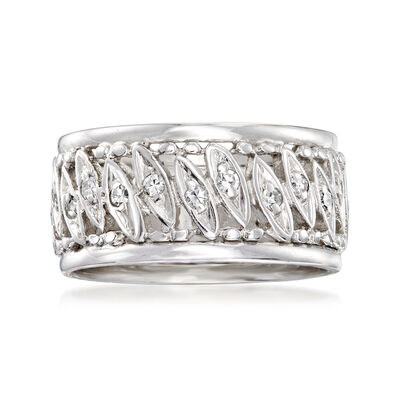 C. 1970 Vintage .35 ct. t.w. Diamond Marquise-Station Eternity Band in 14kt White Gold