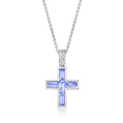 C. 2000 Vintage .56 ct. t.w. Tanzanite Cross Pendant Necklace with Diamond Accents in 18kt White Gold