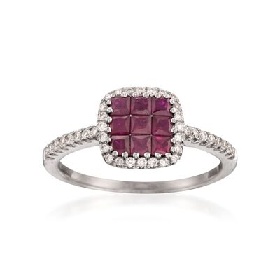 Gregg Ruth .66 ct. t.w. Ruby and .23 ct. t.w. Diamond Ring in 18kt White Gold, , default