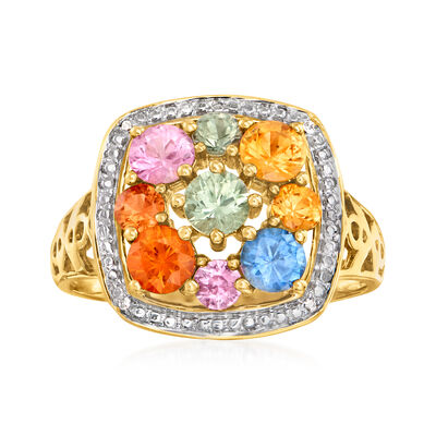C. 1990 Vintage 2.35 ct. t.w. Multicolored Sapphire Cluster Ring with Diamond Accents in 14kt Yellow Gold
