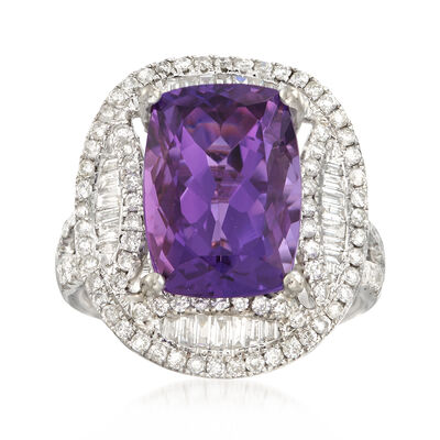 C. 1990 Vintage Cushion-Cut 5.65 Carat Amethyst with 1.17 ct. t.w. Diamond Ring in 18kt White Gold, , default